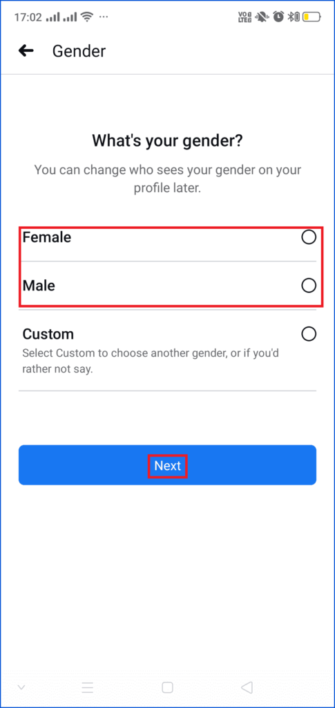 Select gender on Facebook