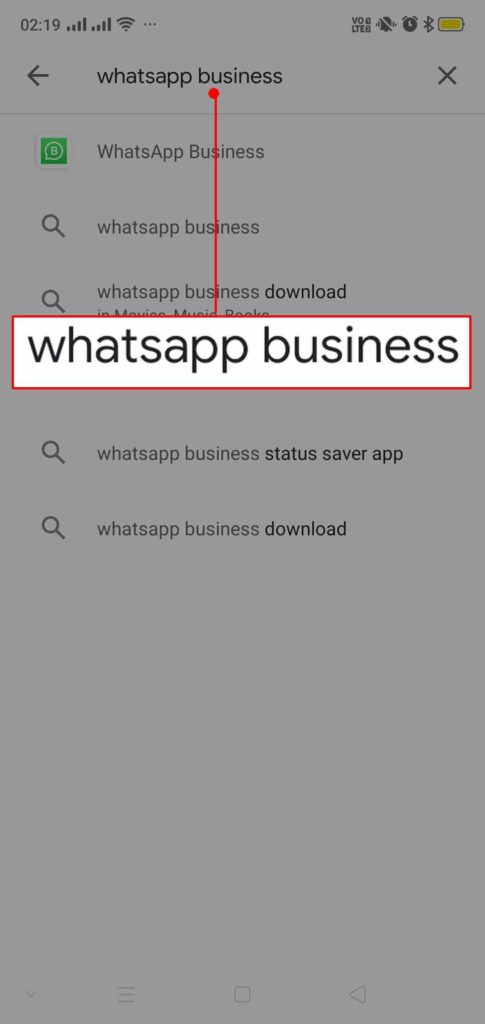 "search for ""Whatsapp Bussiness""."